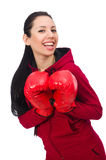 Woman boxer isolated on the white Stock Photography