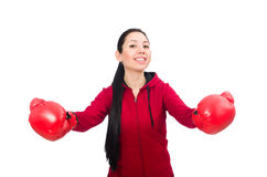 Woman boxer isolated on the white Royalty Free Stock Images