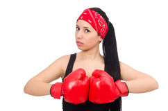 Woman boxer isolated on the white Royalty Free Stock Image