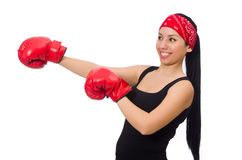 Woman boxer isolated on the white Royalty Free Stock Photos