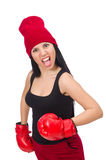 Woman boxer isolated on the white Stock Image