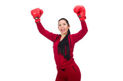 Woman boxer isolated on the white Royalty Free Stock Photography