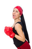 Woman boxer isolated on the white Stock Photos