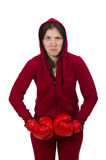 Woman boxer isolated on the white Royalty Free Stock Photo