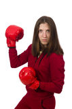 The woman boxer isolated on the white Royalty Free Stock Photography