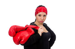 The woman boxer isolated on the white Royalty Free Stock Image