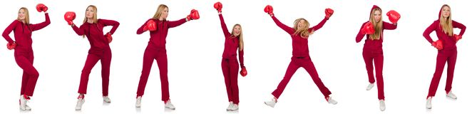 The woman boxer isolated on the white Stock Photos