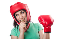 Woman boxer isolated Royalty Free Stock Photos