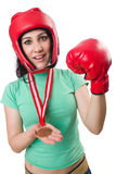 Woman boxer isolated Stock Photography