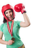Woman boxer isolated Royalty Free Stock Images