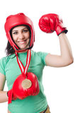 Woman boxer isolated Royalty Free Stock Photography