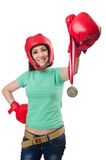 Woman boxer isolated Royalty Free Stock Photo
