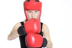 Woman boxer over white Royalty Free Stock Photo