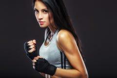 Woman boxer portrait Royalty Free Stock Images