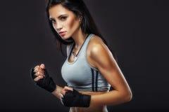 Woman boxer portrait Royalty Free Stock Image