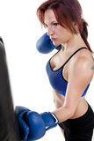 Woman Boxer with Punching Bag Stock Photography