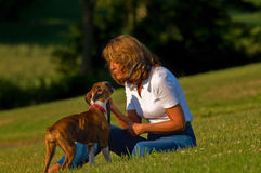 Woman with boxer puppy dog Royalty Free Stock Image