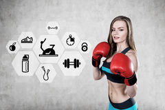 Woman boxer and sport drawings Royalty Free Stock Photos