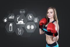 Woman boxer and sport icons Stock Image