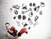 Woman boxer and sport icons Royalty Free Stock Photos