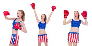 The woman boxer in uniform with us symbols Royalty Free Stock Image