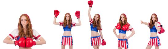 The woman boxer in uniform with us symbols. Woman boxer in uniform with US symbols royalty free stock photo