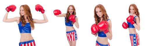 The woman boxer in uniform with us symbols Stock Photo