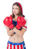 Woman boxer in uniform Royalty Free Stock Photography