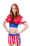 Woman boxer in uniform Royalty Free Stock Images
