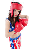 Woman boxer in uniform Royalty Free Stock Photos