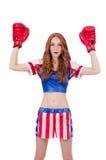 Woman boxer in uniform Stock Photo