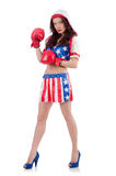 Woman boxer in uniform Royalty Free Stock Image