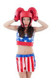 Woman boxer in uniform Stock Images