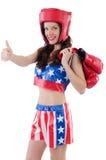 Woman boxer in uniform Stock Photos