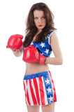 Woman boxer in uniform Stock Image