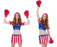 The woman boxer in uniform with us symbols. Woman boxer in uniform with US symbols royalty free stock photos