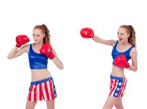 The woman boxer in uniform with us symbols. Woman boxer in uniform with US symbols royalty free stock photography