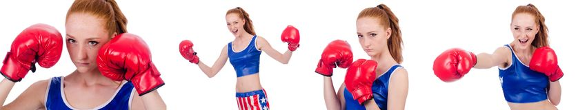 The woman boxer in uniform with us symbols Royalty Free Stock Images