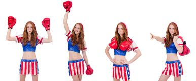The woman boxer in uniform with us symbols. Woman boxer in uniform with US symbols royalty free stock image