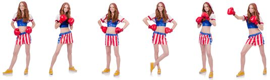 The woman boxer in uniform with us symbols. Woman boxer in uniform with US symbols stock photography