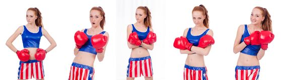 The woman boxer in uniform with us symbols. Woman boxer in uniform with US symbols stock images