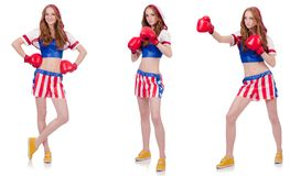 The woman boxer in uniform with us symbols. Woman boxer in uniform with US symbols stock photo