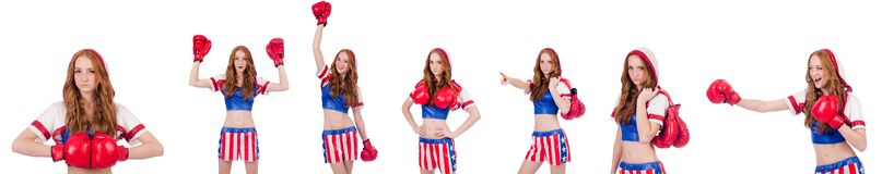 The woman boxer in uniform with us symbols. Woman boxer in uniform with US symbols stock image