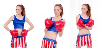 The woman boxer in uniform with us symbols Royalty Free Stock Photography