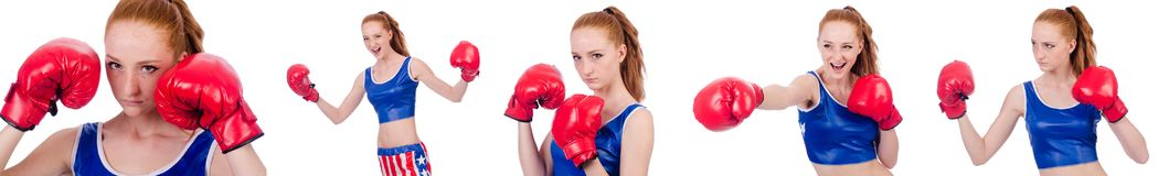 The woman boxer in uniform with us symbols. Woman boxer in uniform with US symbols stock photos