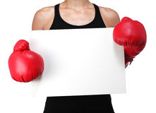 Woman boxer with a white panel Royalty Free Stock Image