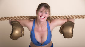 Woman boxer working out Stock Images