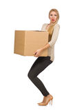 Woman with boxes relocating to new house isolated Stock Image