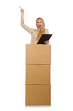 Woman with boxes relocating to new house isolated Royalty Free Stock Photos
