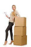 Woman with boxes relocating to new house isolated Royalty Free Stock Image